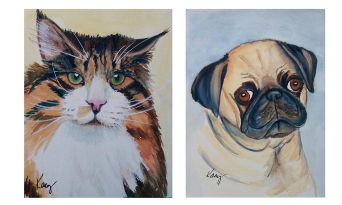 "Kacy Dodson Fine Art: 8""x10"" or 11""x14"" Watercolor Pet Portrait from Kacy Dodson Fine Art (Up to 54% Off)"