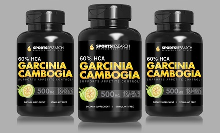 groupon daily deal - Buy 2 Get 1 Free: Sports Research Pure Garcinia Cambogia with 60% HCA