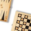 2-in-1 Wood Checkers and Backgammon Travel Game Set