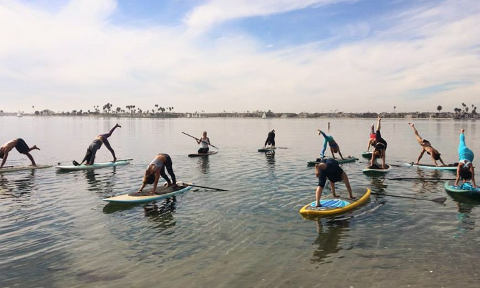 Paddle Board Bliss - Pacific Beach: One or Three Paddle board Yoga Classes or Paddle board Tour from Paddle Board Bliss (Up to 68% Off)