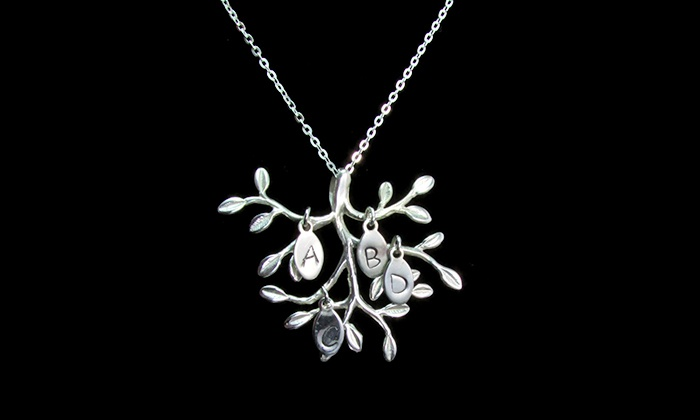 NameJewelrySpot: $29.99 for a Custom Olive-Branch Necklace with Initial Leaves from NameJewelrySpot ($124.99 Value)