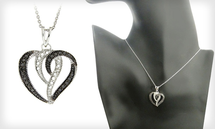 Black and White Diamond Heart Pendant: $24 for a Silver Heart Pendant with Black and White Diamond Accents ($75 List Price). Free Shipping and Free Returns.