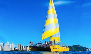 Manu Kai Catamaran: Diamond Head Sail, Sea-Life-Tour Sail, or Sunset Sail for Two from Manu Kai Catamaran (51% Off)
