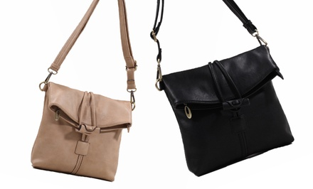 groupon daily deal - Luna Moon JoJo Cross-Body Bag in Beige or Black. Free Returns.