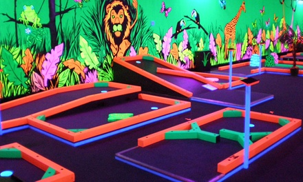 Glow in the dark mini golf glowgolf groupon for Garden city mini golf