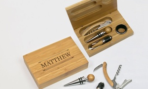 Monogram Online: One or Two Personalized Bamboo Four-Piece Wine Tool Set from Monogram Online (Up to 56% Off)