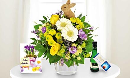 Blumenstrauß mit Deko-Osterhase inkl. Lindt-Vollmilchschokolade & Piccolo Perlwein & Grußkarte