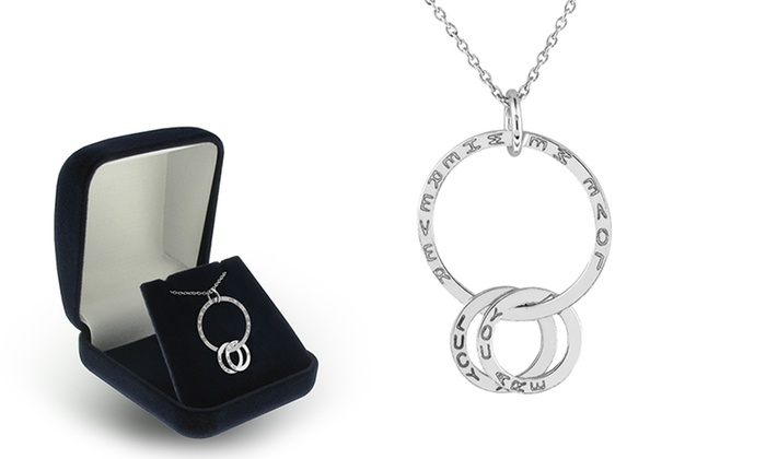 SilvexCraft Design: Personalized 3-Ring Pendant in Rhodium Plated Solid Sterling Silver from SilvexCraft Design