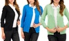 Crew-Neck Cardigan with Ruched Sleeves: Crew-Neck Cardigan with Ruched Sleeves