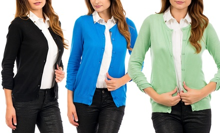 Crew-Neck Cardigan with Ruched Sleeves