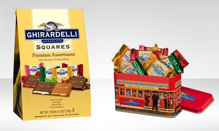 Ghirardelli Assorted Chocolate Squares: Ghirardelli Assorted Chocolate Squares. Decorative Tin or Extra-Large Bag Available from $14.99–$16.99.