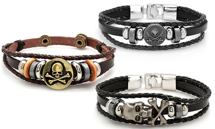 Men's Genuine Leather Bracelets with Metal and Braided Accents