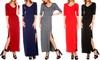 Womens V-Neck Maxi Dress With Slit