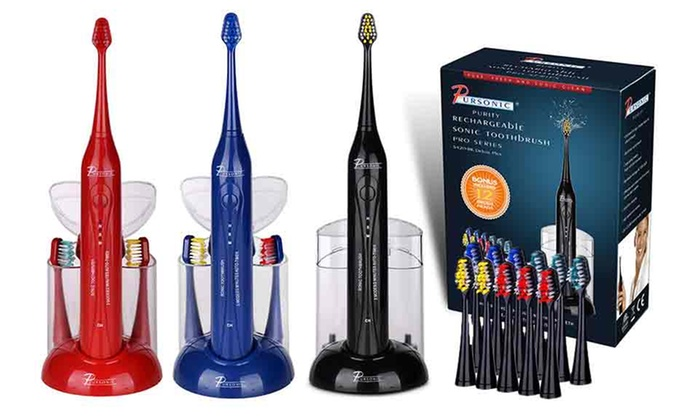 Pursonic S420 Deluxe Sonic Toothbrush with 12 Brush Heads