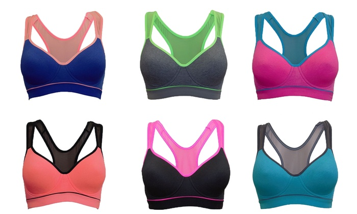 Women's Mesh-Back Sports Bras (6-Pack)