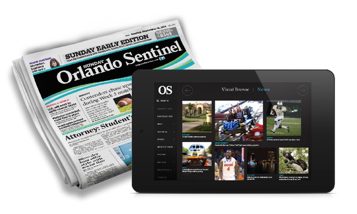 "Orlando Sentinel - Orlando: One-Year Subscription to the ""Orlando Sentinel"" (95% Off). Two Options Available."