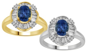 1.50 Cttw Tanzanite And White Diamond Ring In 14k Gold
