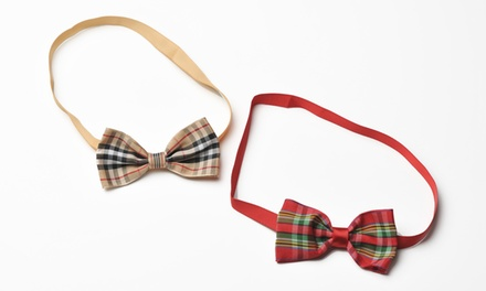 Holiday Plaid Bow Ties for Dogs (2-Pack)