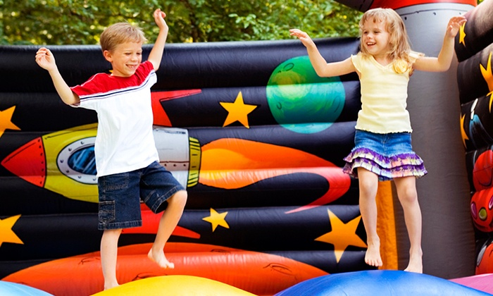 BounceU - Multiple Locations: 5 or 10 Open-Bounce Sessions or Birthday Party with Cake and Pizza for Up to 12 at BounceU (Up to 50% Off)
