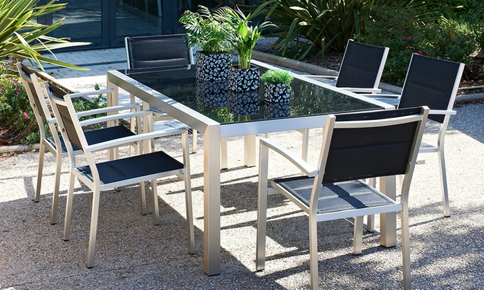 ensemble table pour jardin groupon shopping. Black Bedroom Furniture Sets. Home Design Ideas