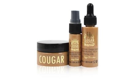 Set met 3 gezichtsproducten met hyaluronzuur verrijkt met cafeïne van Cougar beauty products