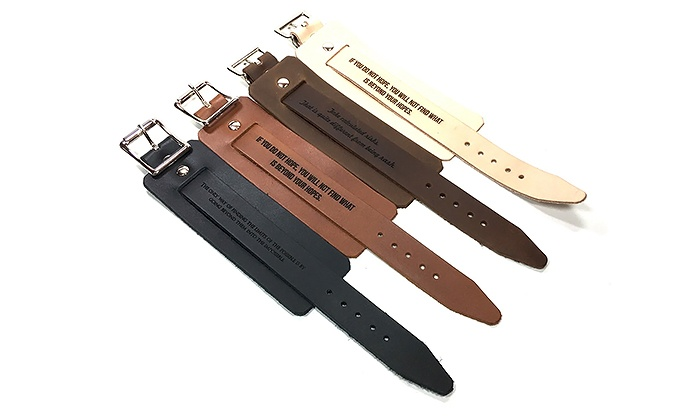 Engraved Adjustable Leather Bracelets from Urban Wrist (Up to 46% Off)