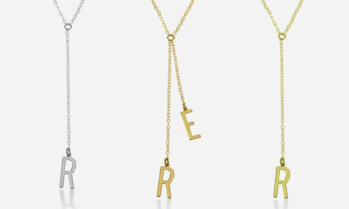 Monogram Online: Single- or Two-Initial Sterling Silver or Gold-Over-Silver Lariat Necklaces from Monogram Online (Up to 89% Off)