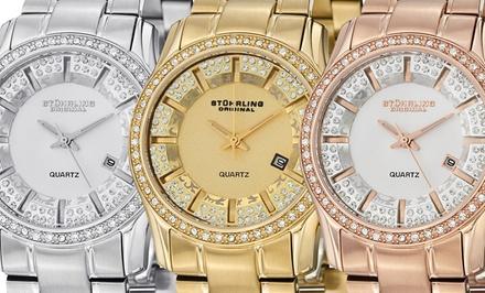 Stührling Original Women's Symphony Crystal-Encrusted Bracelet Watch