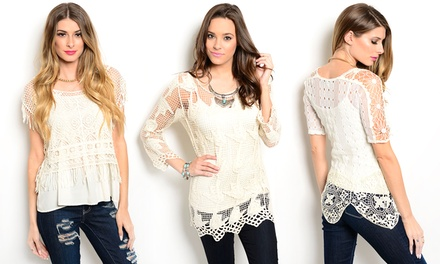 Natural Crochet Lace Tops