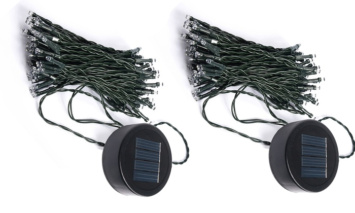 liteup50 led solar string lights with clipon panel 2pack