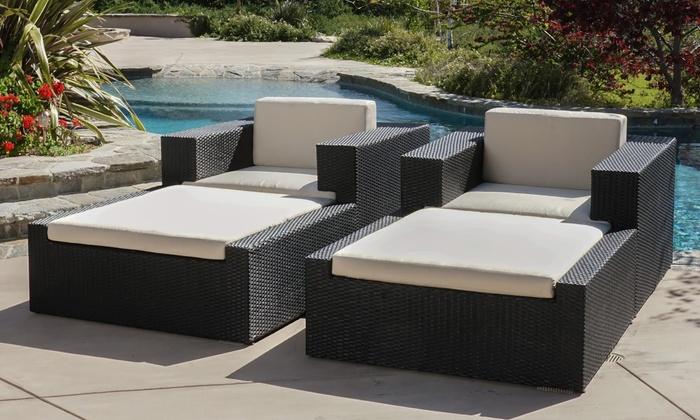 Oasis Outdoor 4 Piece Wicker Sunbrella Lounge Set ...
