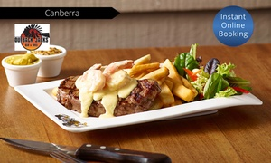 Outback Jacks Bar & Grill : Two-Course Dinner with Wine for One ($24.50), Two ($49) or Eight ($196) at Outback Jacks Bar & Grill (Up to $451 Value)