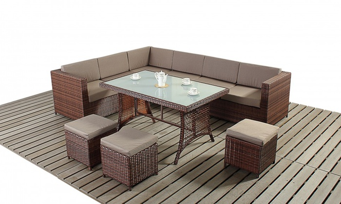 Rattan Effect Corner Sofa Set 299 99 Or Corner Sofa Dining Set 499 99 With Free Delivery Up To 70 Off