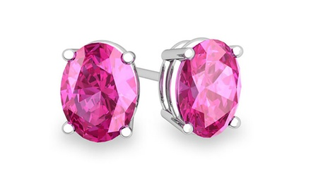 2.0 CTTW Genuine Pink Sapphire Stud Earrings in Solid Sterling Silver