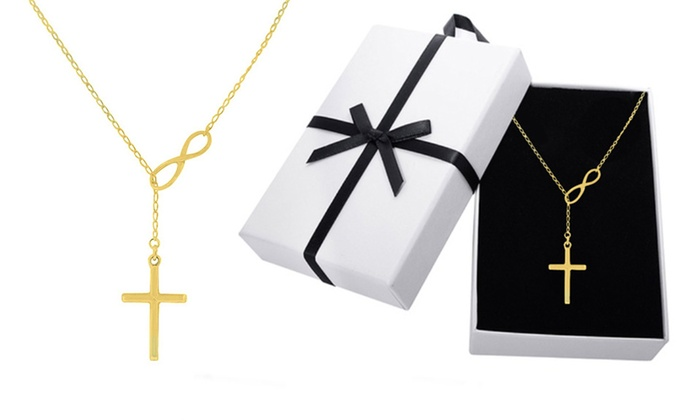 00e8aee449dfa 18K Gold Plated Lariat Necklace | Groupon Goods