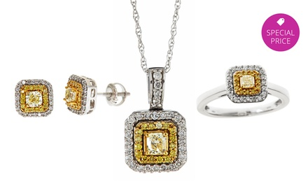 Natural Yellow Diamond Jewelry Made with 14-Karat White Gold. Multiple Pieces from $399.99–$699.99.