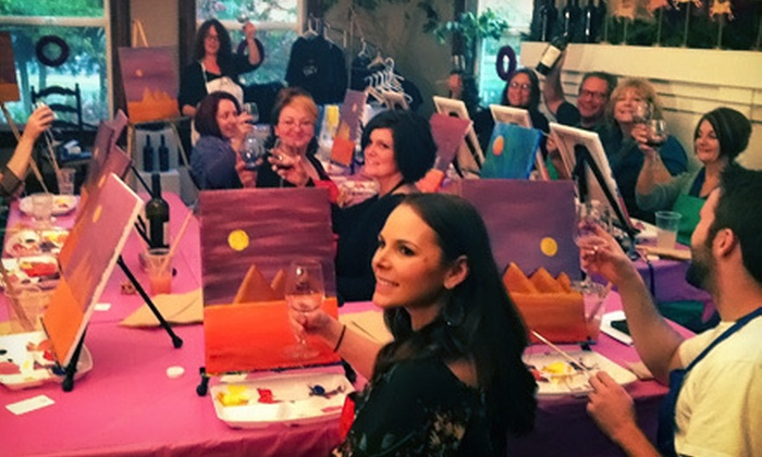 Happy Hour Paints - Sacramento: Painting Class with Wine for 2 or 5, or a Private Painting Party for 10 from Happy Hour Paints (Up to 46% Off)