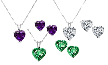 Cubic Zirconia Heart Pendant and Earring Set
