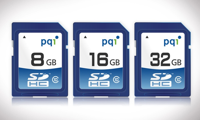 PQI 8, 16, or 32GB Flash Memory Cards: 8-, 16-, or 32-Gigabyte PQI SDHC Class-10 Flash Memory Card (Up to 88% Off)