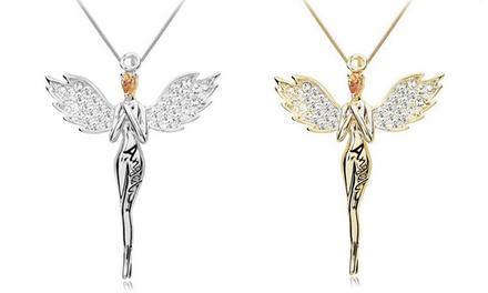 Halskette mit Engel in Silber oder Gold, veredelt mit Kristallen von Swarovski® (57% sparen*)