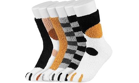 Pack de 6 o 12 calcetines de lana para damas con patas de gato
