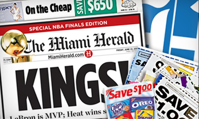 "Miami Herald: $9 for 12-Month Sunday Home Delivery to the ""Miami Herald"" ($80.13 Value)"