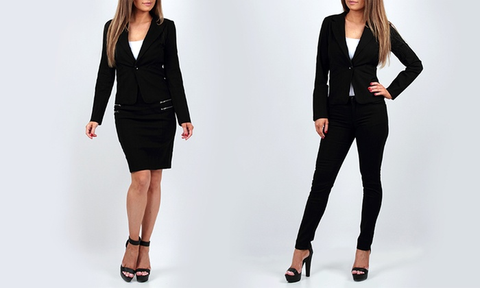womens suit with pants or skirt groupon goods