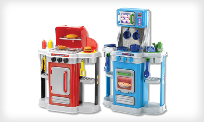 Two piece cooking play set groupon goods for Kitchen set deals