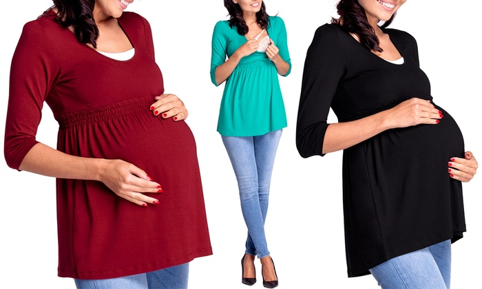 Groupon Goods Global GmbH: Maternity 3/4 Sleeve Nursing Top