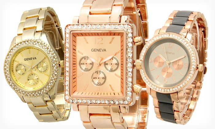 Assorted Boyfriend Watches: $16.99 for a Geneva Boyfriend Watch ($49.99 List Price). 20 Options Available. Free Shipping and Returns.