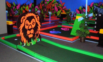Three Rounds of Indoor Glow-in-the-Dark Mini Golf for Two, Four, or Six at Glowgolf (Up to  55%Off)