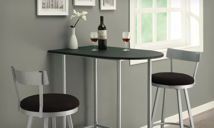 Three-Piece Pub-Table Set with Swivel Barstools: $169 for a Black and Silver Three-Piece Space-Saver Pub-Table Set ($340 List Price). Free Returns.
