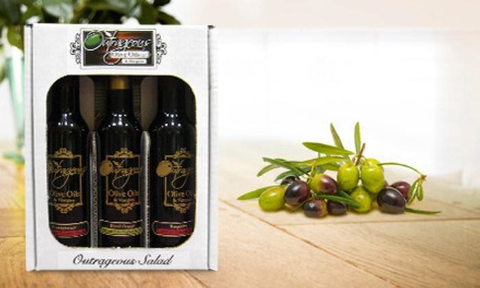 Outrageous Olive Oils and Vinegars - Multiple Locations: Bottle or Sampler Pack of Gourmet Olive Oil and Balsamic Vinegar at Outrageous Olive Oils and Vinegars (Up to 51% Off)