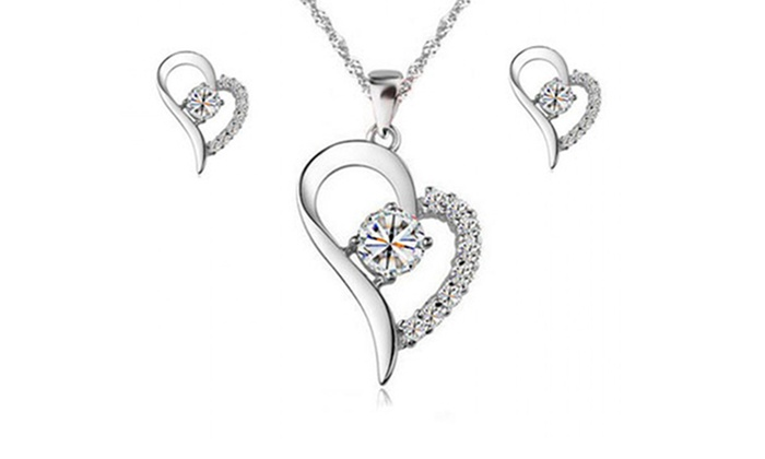 Heart Shaped Jewellery Set Groupon Goods
